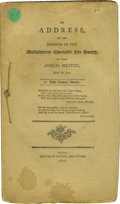 "Books:Pamphlets & Tracts, Early John Quincy Adams Speech, ""An Address to the Members of the Massachusetts Fire Society, at Their Annual Meeting, May 2..."