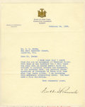 "Autographs:U.S. Presidents, FDR Typed Letter Signed, ""Franklin D Roosevelt"", one page onNew York Governor's letterhead, 7.25"" x 9"", Albany, New Yor..."