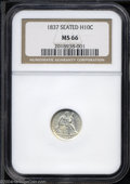Seated Half Dimes: , 1837 H10C Small Date (Flat Top 1) MS66 NGC.