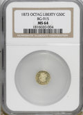 California Fractional Gold: , 1873 50C Liberty Octagonal 50 Cents, BG-915, Low R.4, MS64 NGC. .NGC Census: (3/5). PCGS Population (34/28). (#10773)...