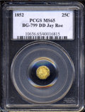 California Fractional Gold: , 1852 Indian Octagonal 25 Cents, BG-799DD, High R.7 MS65 ...