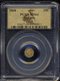 California Fractional Gold: , 1868 Liberty Round 25 Cents, BG-806, R.3, MS64 PCGS. ...