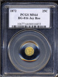 California Fractional Gold: , 1872 Liberty Round 25 Cents, BG-816, R.6, MS64 PCGS. ...