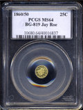California Fractional Gold: , 1860/50 Liberty Round 25 Cents, BG-819, R.4, MS64 PCGS. ...