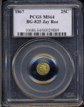 California Fractional Gold: , 1867 Liberty Round 25 Cents, BG-825, R.4, MS64 PCGS. ...
