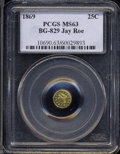 California Fractional Gold: , 1869 Liberty Round 25 Cents, BG-829, Low R.5, MS63 PCGS. ...