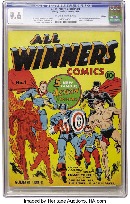 All Winners Comics #1 Chicago pedigree (Timely, 1941) CGC NM+ 9.6 Off-white to white pages....