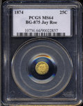 California Fractional Gold: , 1874 Indian Round 25 Cents, BG-875, High R.4, MS64 PCGS. ...