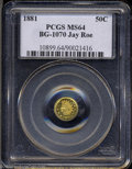 California Fractional Gold: , 1881 Indian Round 50 Cents, BG-1070, R.5, MS64 PCGS. ...