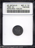 Early Half Dimes: , 1805 H10C --Repaired, Tooled--ANACS. VF Details, Net Fine 12....