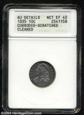 Bust Dimes: , 1835 10C --Corroded, Scratched, Cleaned--ANACS. AU Details, ...