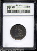Bust Quarters: , 1834 25C XF40 ANACS. B-1, R.1. Toned in deep shades of ...