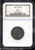 Seated Quarters: , 1851-O 25C Fine 12 NGC. A medium grade example of one of ...