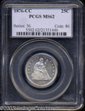 Seated Quarters: , 1876-CC 25C MS62 PCGS. An accurately graded specimen with ...
