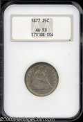 Seated Quarters: , 1877 25C AU53 NGC. Just a little light wear shows over ...