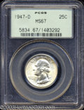 Washington Quarters: , 1947-D 25C MS67 PCGS. A lustrous Superb Gem with a hint ...
