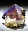 Minerals:Cabinet Specimens, FLUORITE WITH CALCITE. ...