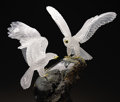 Lapidary Art:Carvings, GOLDEN EAGLE COUPLE on POLISHED PHANTOM QUARTZ BASE. ... (Total: 2 Items)