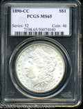 Morgan Dollars: , 1890-CC $1 MS65 PCGS. Fully brilliant, with lustrous, ...
