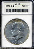 Eisenhower Dollars: , 1971-S $1 Silver MS67 ANACS. Light, speckled patina is ...