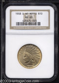Indian Eagles: , 1908-D $10 No Motto MS60 NGC. Richly colored with ...