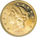 Liberty Double Eagles, 1877-S $20 MS63 Prooflike NGC....