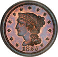 Proof Large Cents, 1855 1C Slanted 55 PR66 Red and Brown PCGS....