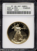 2001-W G$50 One-Ounce Gold Eagle PR66 Heavy Cameo ANACS. A beautifully preserved bullion piece that is separated from pe...