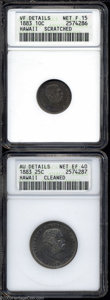 Coins of Hawaii: , 1883 10C Hawaii Ten Cents--Scratched--ANACS, VF Details, ... (2Coins)