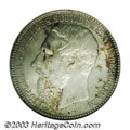 Belgian Congo: , Belgian Congo: Leopold II 5 francs 1887, Bust left/Arms, KM8.1,MS64 NGC. Nice multicolored reverse toning with scattered smallpatches of ...