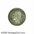 Belgium: , Belgium: Leopold I 1/2 franc 1849, without period, Bustleft/Crowned arms, Dup-428, KM15, toned Choice Proof. ExtremelyRare!. ...