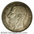 Belgium: , Belgium: Leopold II 2 francs 1887, Bust left/Crowned arms,Dup-1247, KM31, lightly toned Uncirculated. Very Rare in thiscondition....