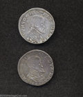 Belgium: , Belgium: 1/5 Philipsdaalder 1576 Maastricht Mint (Star) Lot of 2coins, One with indistinct date and the other with the last twodigi... (Total: 2 coins Item)