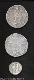 Belgium: , Belgium: Lot of Three Coins, One Duit struck in silver 1702 KM30a;One Silver Ducat 1664 Delmonte 968, Davenport 4896, KM43, and One... (Total: 3 coins Item)