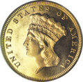 Proof Three Dollar Gold Pieces, 1887 $3 PR64 Cameo PCGS. CAC....
