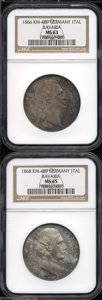 German States:Bavaria, German States: Bavaria. Ludwig II Talers as follows: 1866, KM489,MS63 NGC; and an 1868, KM489, MS65 NGC. Both with original toningover un... (Total: 2 coins Item)