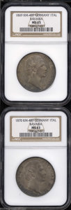 German States:Bavaria, German States: Bavaria. A pair of Ludwig II Talers as follows:1869, KM489, MS65 NGC; and an 1870, KM489, MS63 NGC. A secondattractively t... (Total: 2 coins Item)
