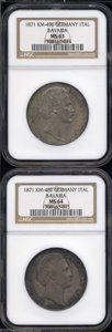 German States:Bavaria, German States: Bavaria. Two 1871 Ludwig II Talers as follows:KM489, MS64 NGC; and a KM496, MS63 NGC. Both nicely toned. ...(Total: 2 coins Item)