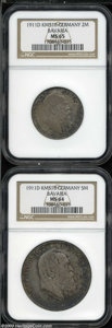German States:Bavaria, German States: Bavaria. Otto Prince Regent Luitpold 1911 pairincluding: 2 Mark, KM516, MS65 NGC; and a 5 Mark, KM518, MS64 NGC.... (Total: 2 coins Item)