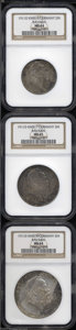 German States:Bavaria, German States: Bavaria. Otto Prince Regent Luitpold CommemorativeSet 1911 including: 2 Mark, KM516, MS64 NGC; 3 Mark, KM517, MS65NGC; and... (Total: 3 coins Item)