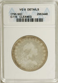 Early Half Dollars: , 1795 50C 2 Leaves--Cleaned--ANACS. VG 8 Details. O-116. NGC Census:(119/1271). PCGS Population (113/853). Mintage: 299,680...