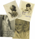 "Movie/TV Memorabilia:Autographs and Signed Items, Golden Age Hollywood Vamps Signed Photos. Set of four vintageb&w photos includes an 8"" x 10"" signed by Lya De Putti, a 7""x..."