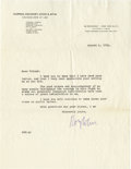 Movie/TV Memorabilia:Autographs and Signed Items, Roy Cohn Signed Letter. A single-page, typed letter dated August 4,1954, signed by notorious attorney Roy Cohn in blue ink....