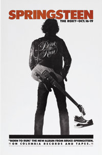 """Bruce Springsteen Roxy Poster. A 26"""" x 41"""" poster advertising an October 16-19, 1975, series of performances b..."""
