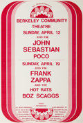 Music Memorabilia:Posters, John Sebastian/Poco/Frank Zappa Berkeley Community Theatre ConcertPoster (Bill Graham, 1970). A rather generic-looking post...