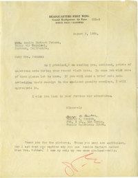 """Amelia Earhart Typed Letter Signed """"A.E."""" One page, 8"""" x 10.25"""" typed letter on Air Force, Headquart..."""