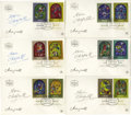 "Autographs:Artists, Six Israeli First Day Covers Signed by Marc Chagall, each 6.75"" x4"", Jerusalem, March 26, 1973. Boldly signed by Chagall in...(Total: 6 )"