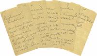 """Thomas A. Edison Autograph Note Signed, """"E"""", five pages, 5"""" x 8"""", n. p., December, 1923. It reads in..."""