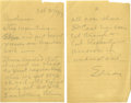 """Autographs:Inventors, Thomas A. Edison Autograph Note Signed, """"Edison"""", two pages,5"""" x 8"""", n. p. , October 23, 1923. It reads:Stop reprinti..."""