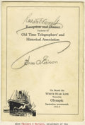 "Autographs:Inventors, Thomas Edison Signed Menu, ""Reception and Dinner Tendered by OldTime Telegraphers' and Historical Association"", four pages,..."